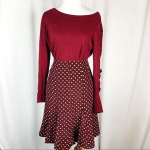 GAP Maroon Silk Skirt